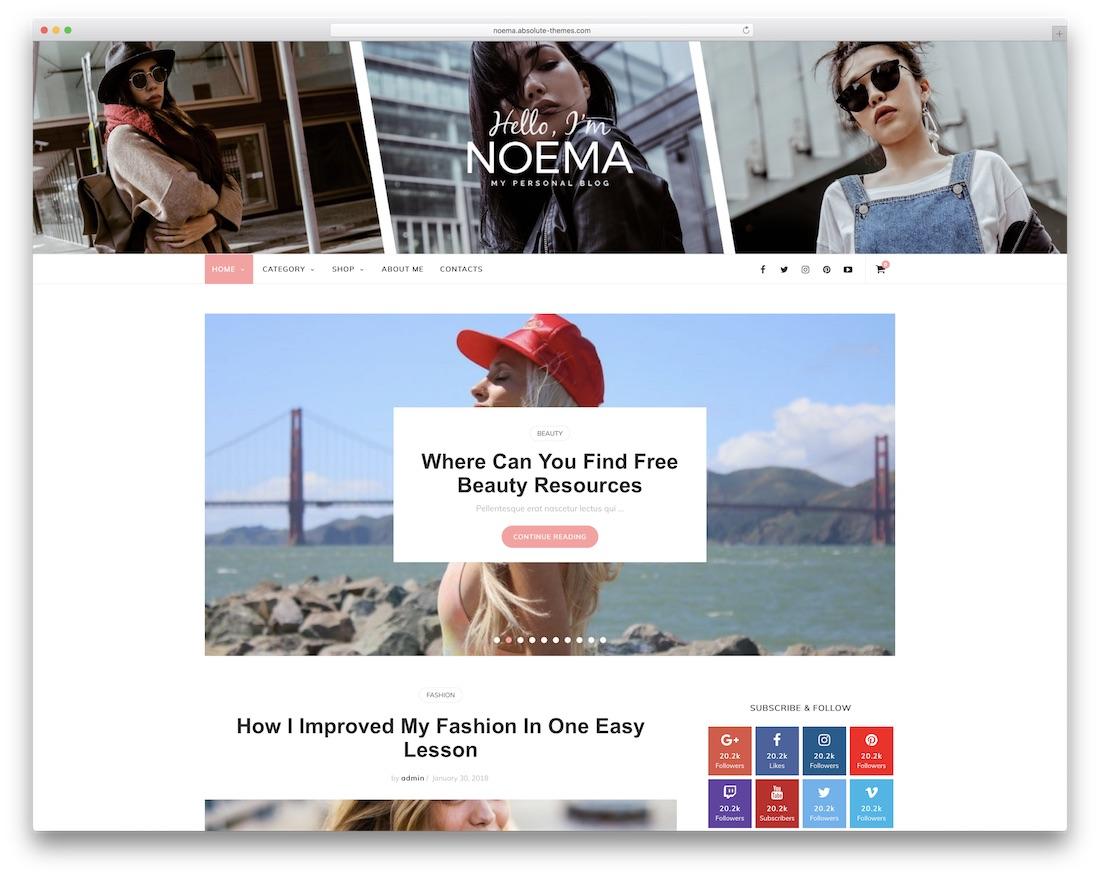 noema wordpress material design theme