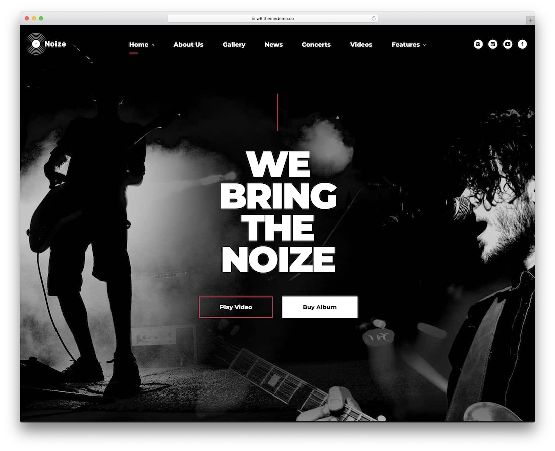 noize music website template