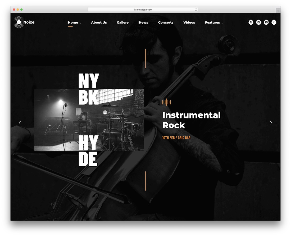 noize wordpress theme for musicians