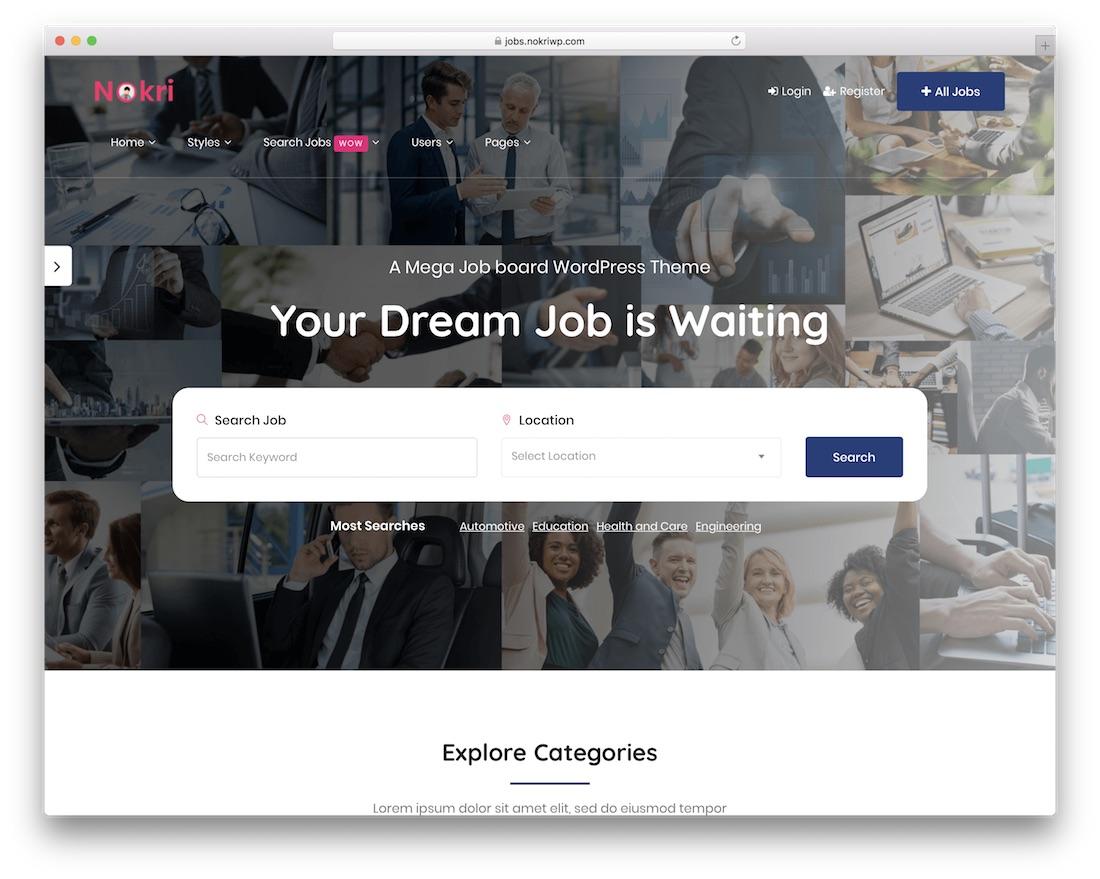 nokri wordpress job board theme
