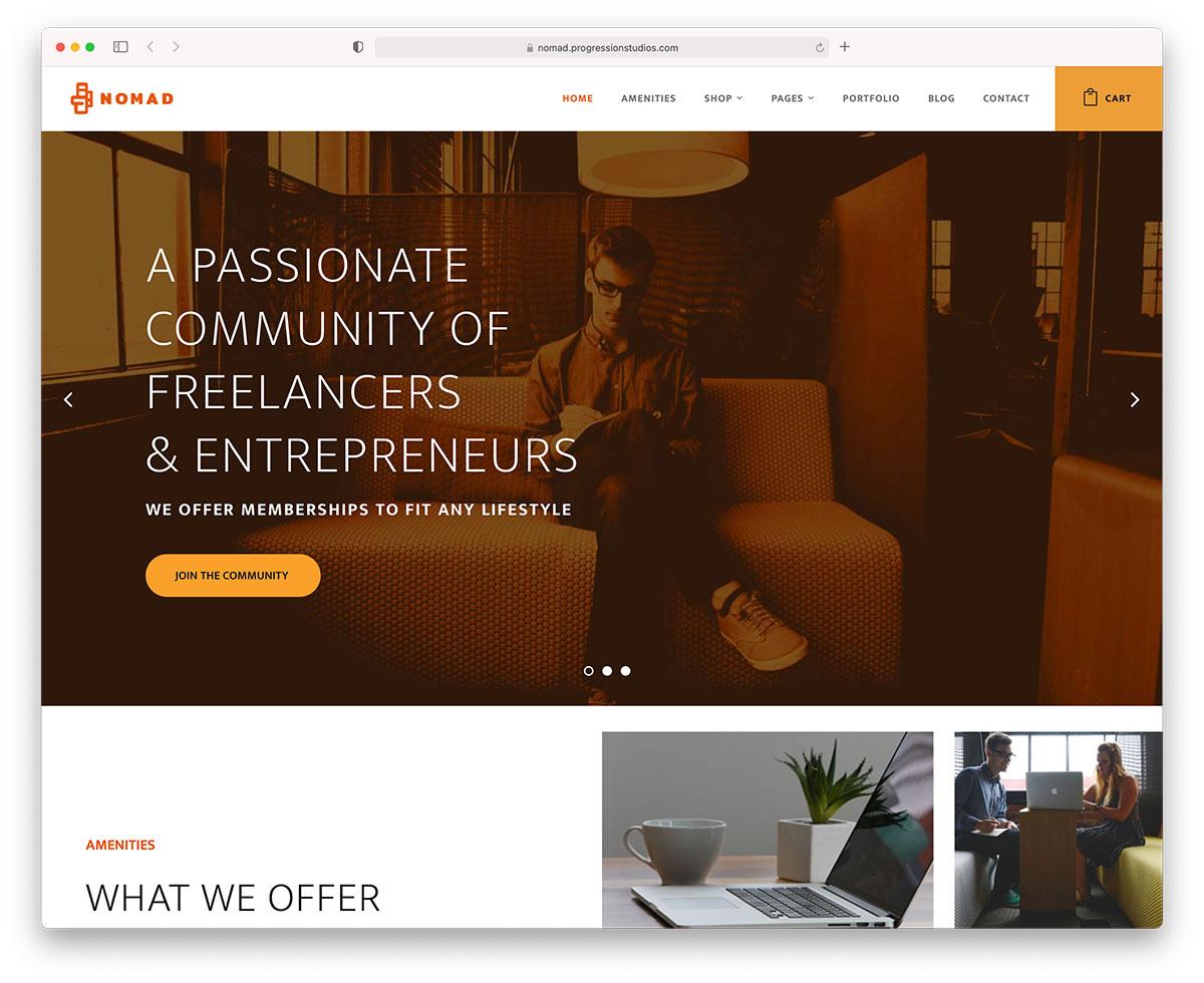 nomad coworking WordPress themes