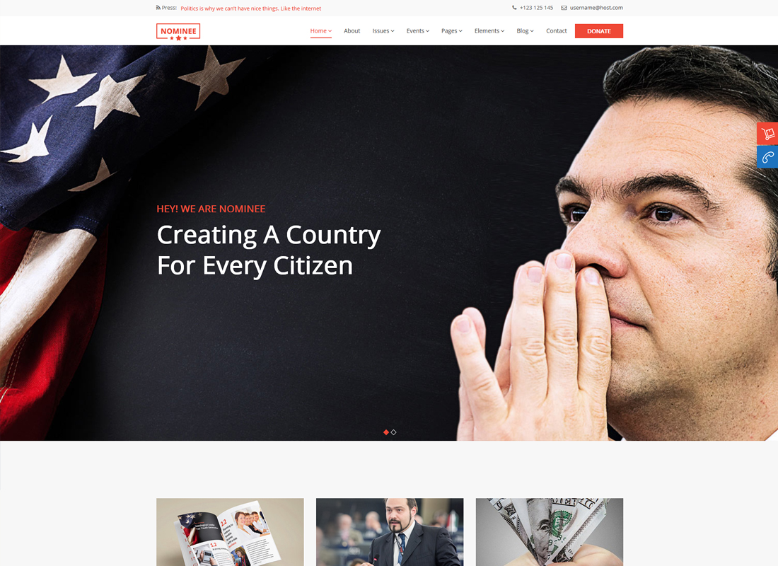Nominee | Political WordPress Theme for Candidate/Political Leader