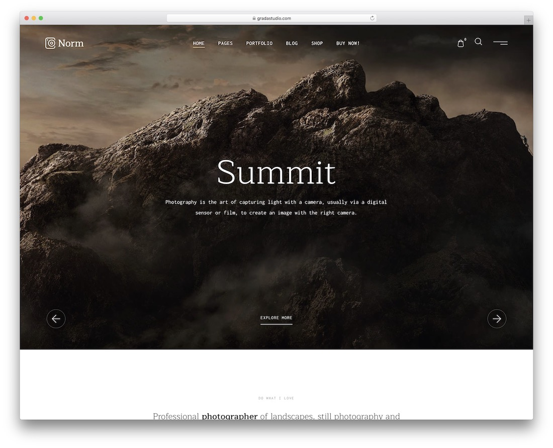 norm photography wordpress theme