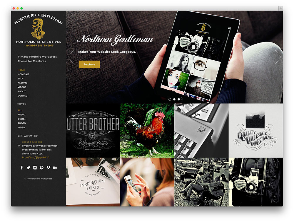 northern gentleman retro photography theme