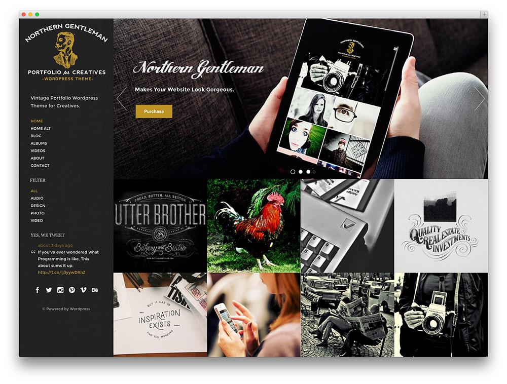 northern gentleman retro photography theme