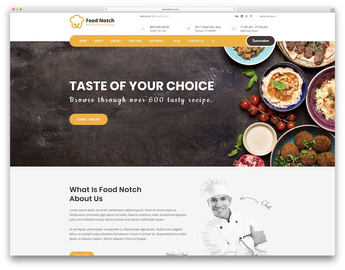 notch catering website template