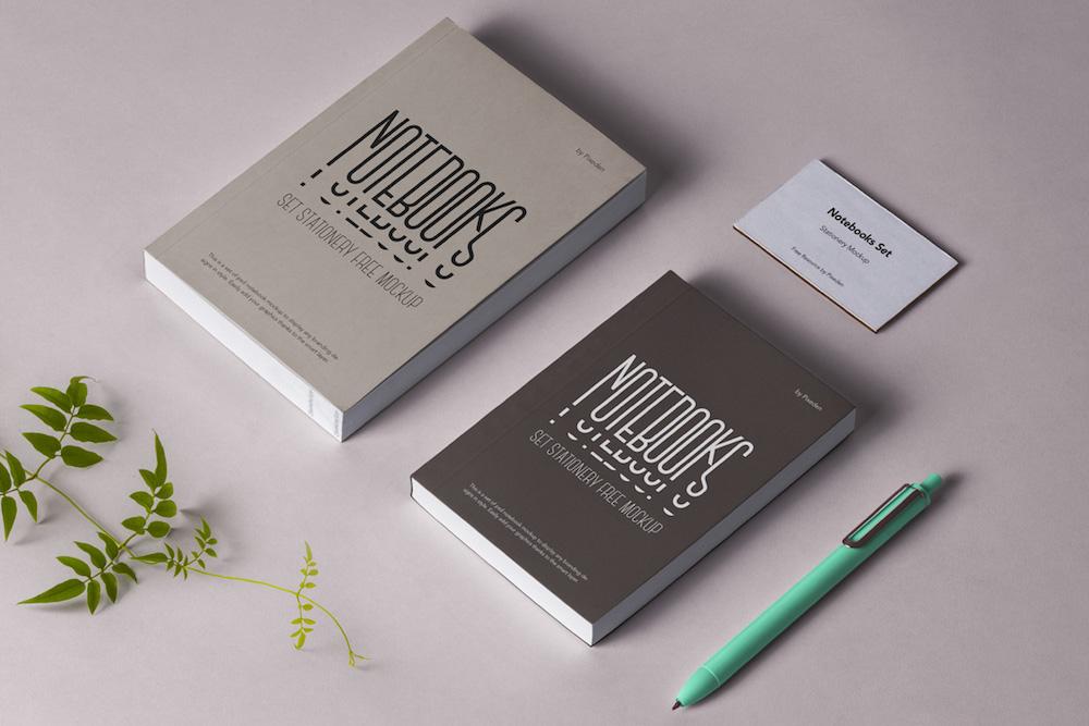 notebook stationery psd mockup