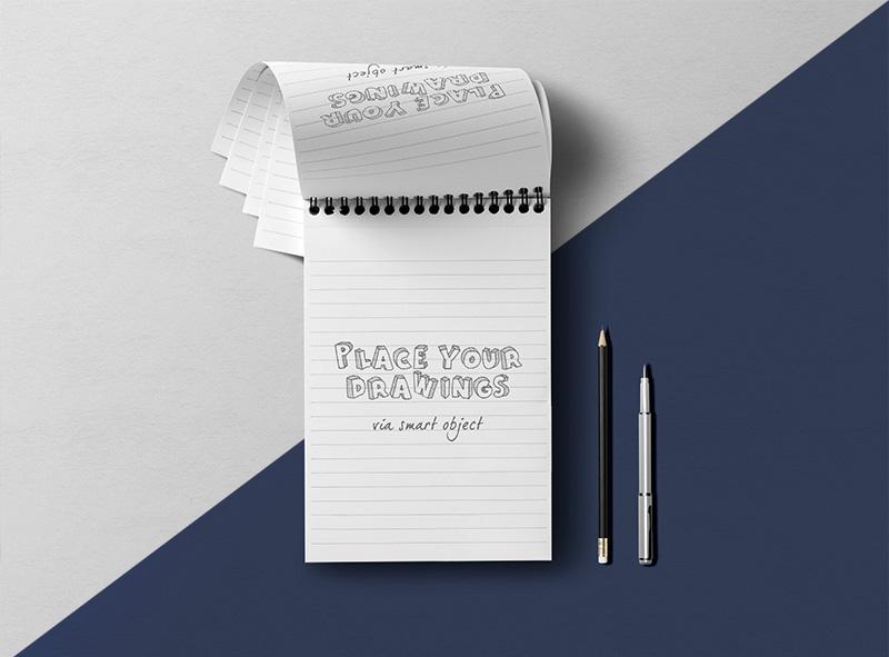 notepad psd mockup free
