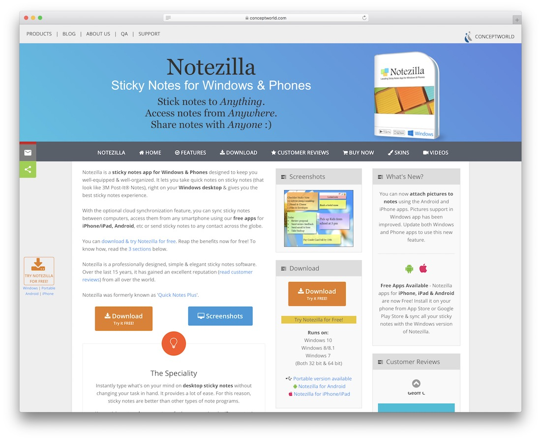 notezilla online notes taking tool