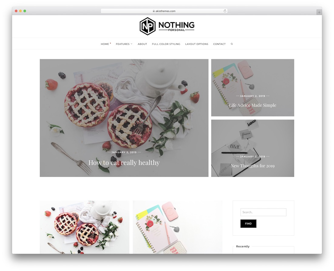 nothing free personal wordpress theme
