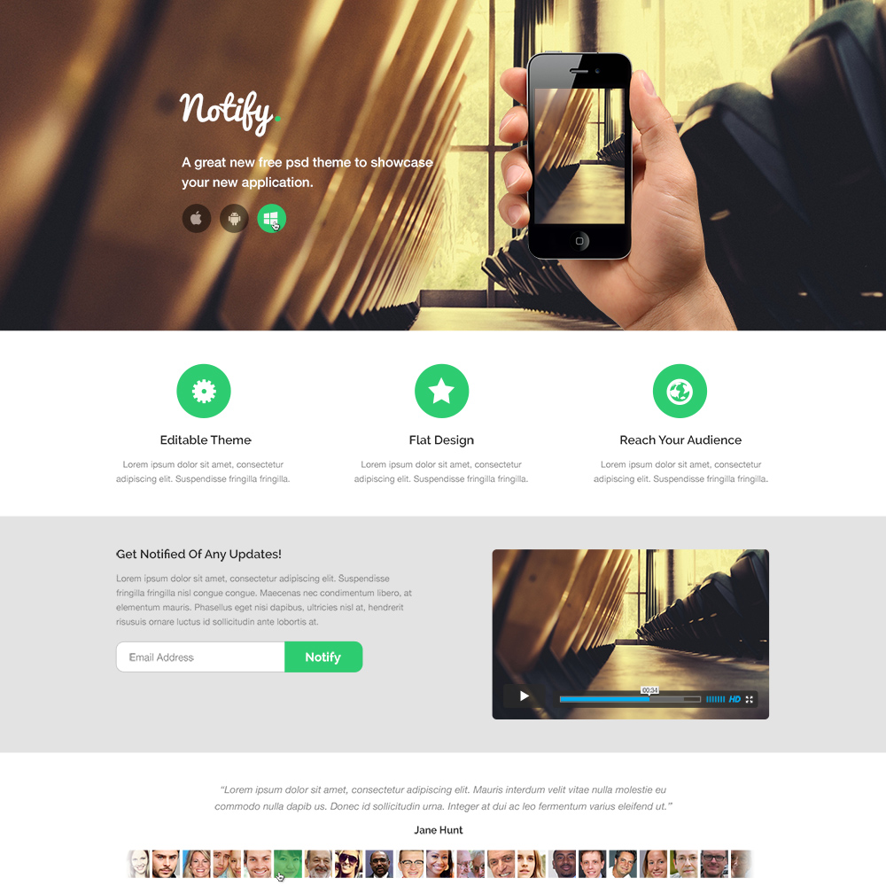 Notify App Free PSD Template