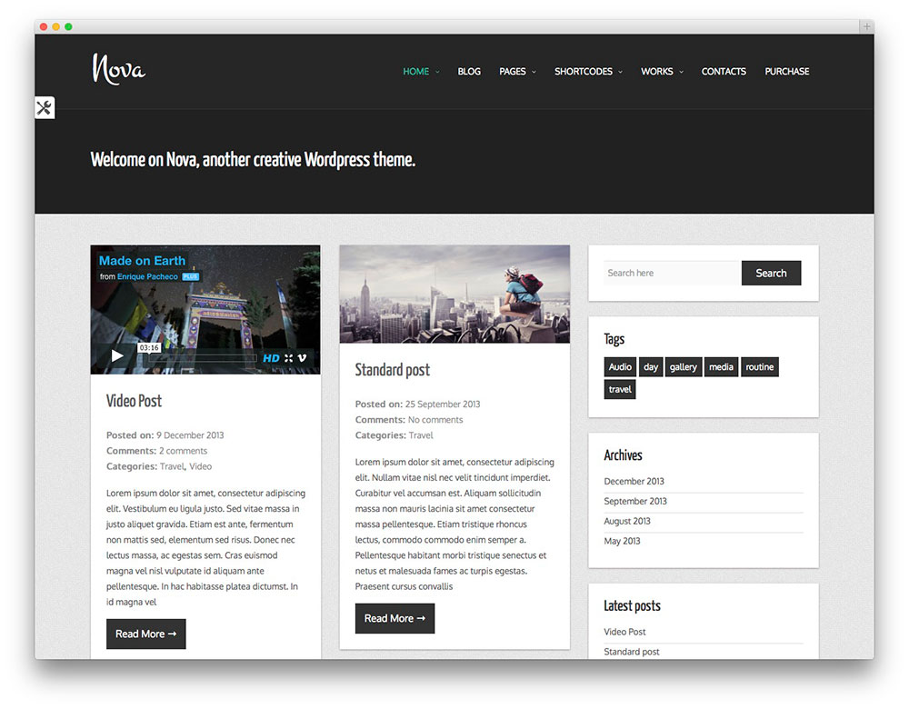 Nova Lite WordPress grid theme