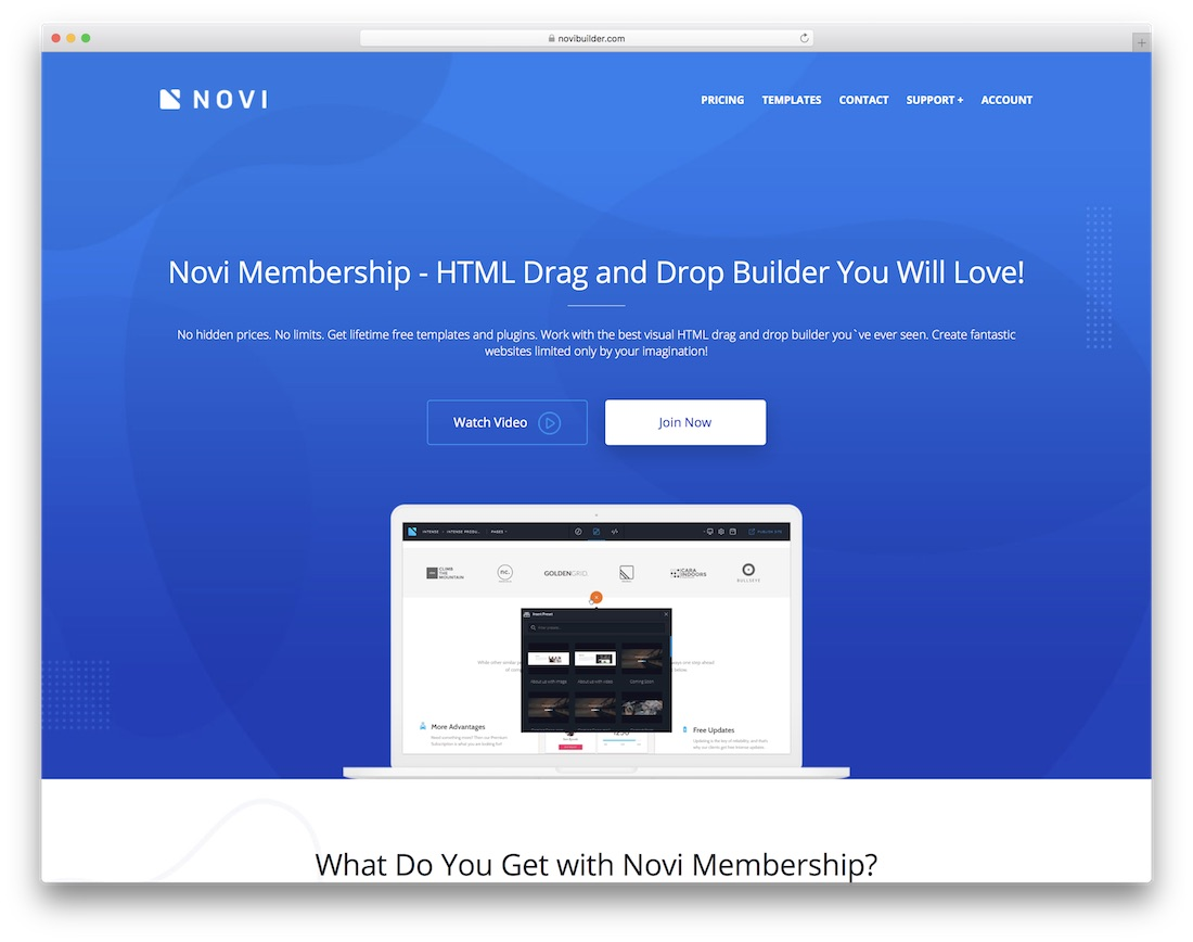 novi drag and drop website builder