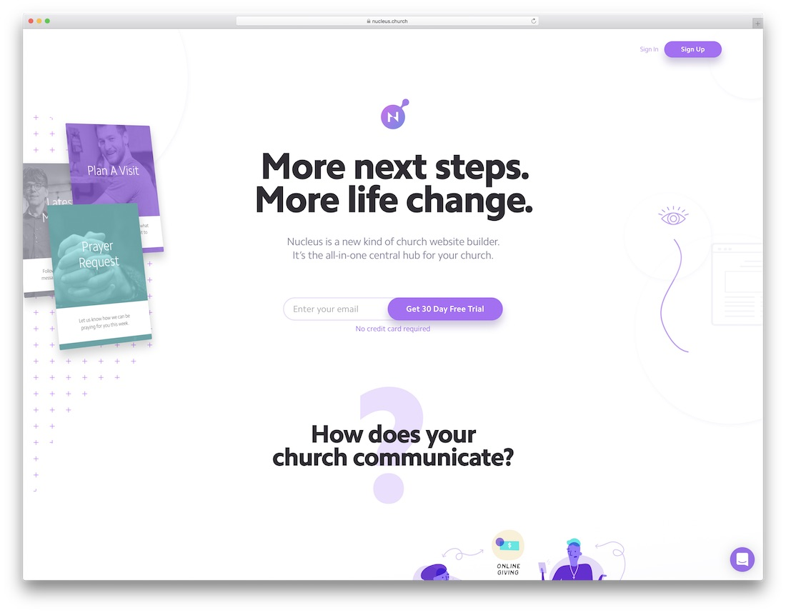 nucleus church website builder