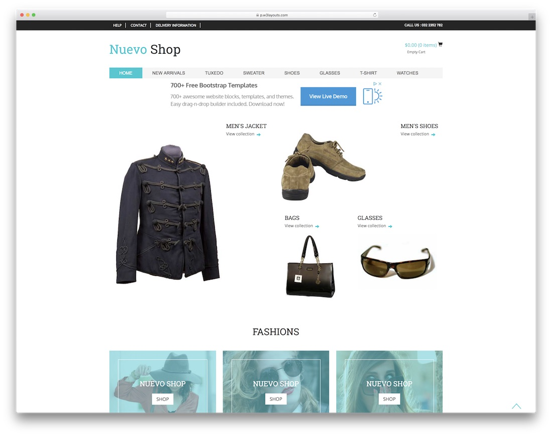 nuevo shop free bootstrap ecommerce website template