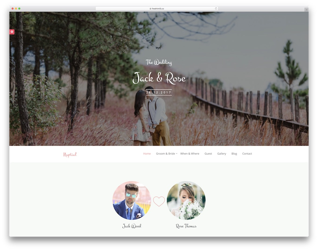 nuptial wedding free event website template