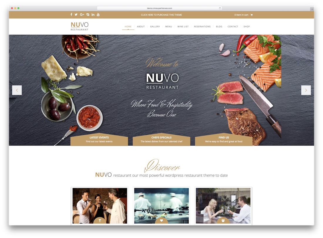 nuvo cafe catering wordpress theme