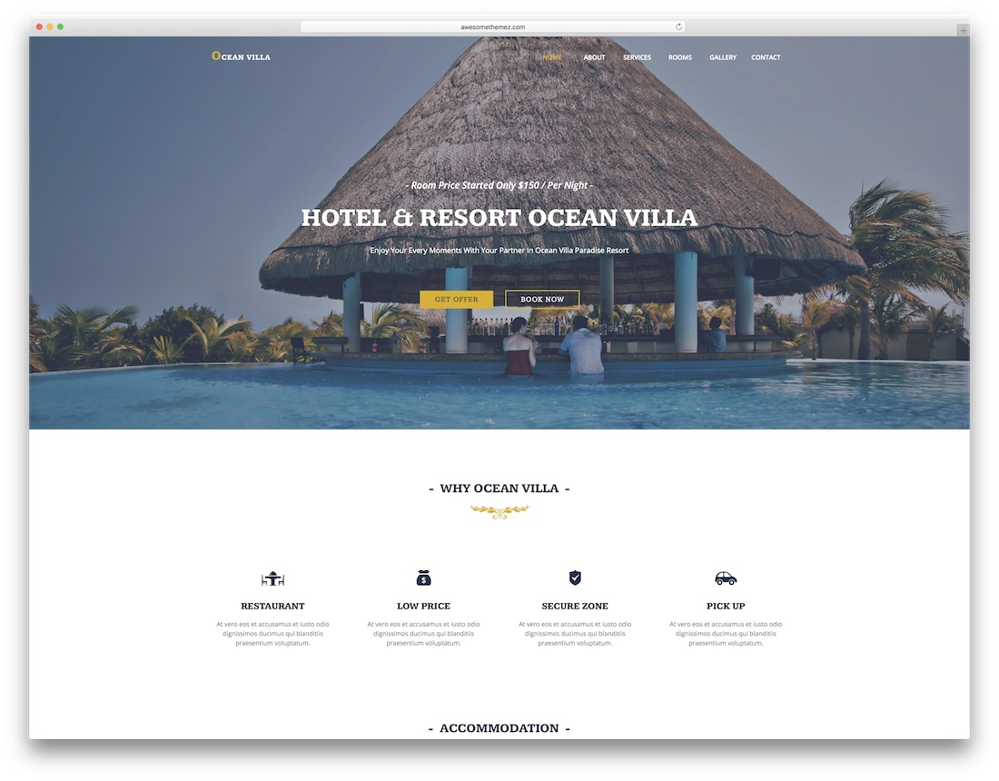 ocean villa adobe muse template