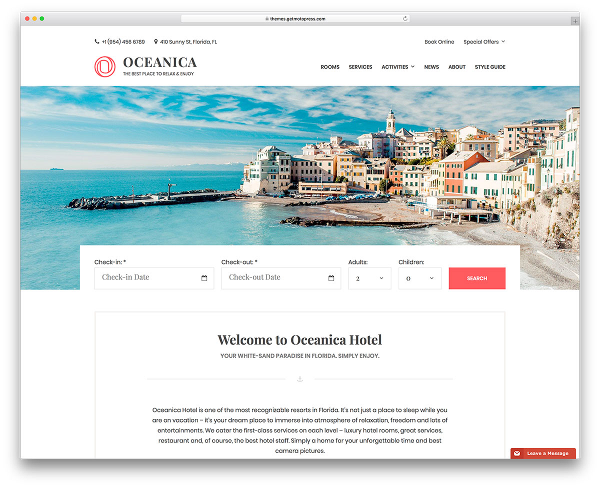 Oceanica Hotel Booking WordPress Theme Is Suitable For Any Type Of A Elishment Vacation Al Inn B And Even Hostels