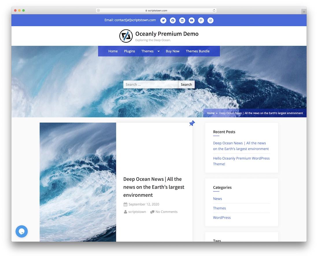 oceanly free parallax scrolling wordpress theme