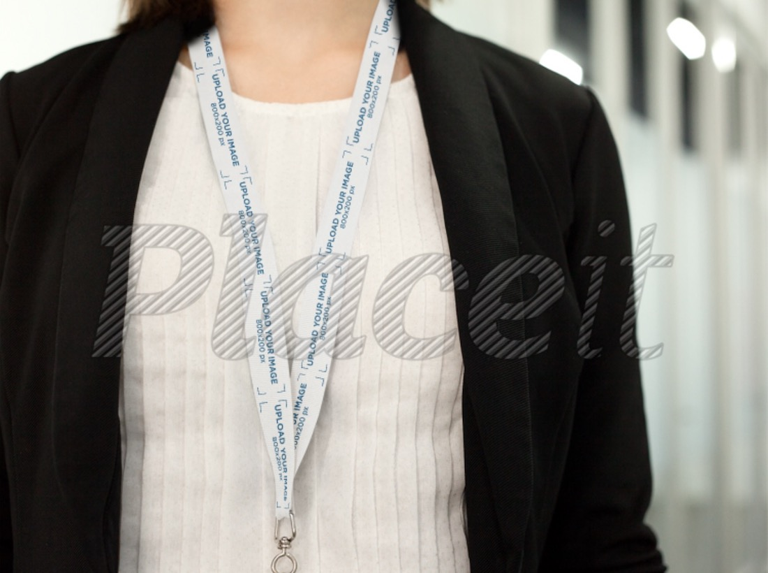 office girl using a lanyard mockup