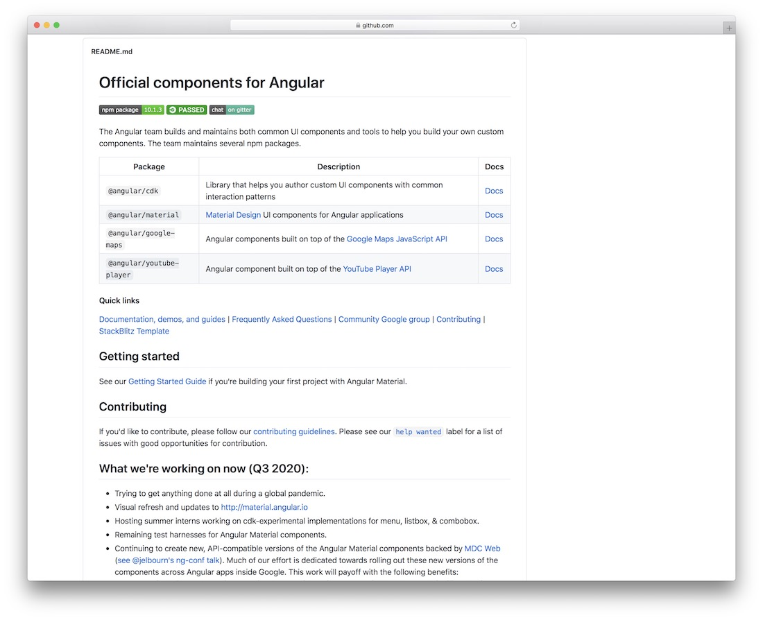 official angular components