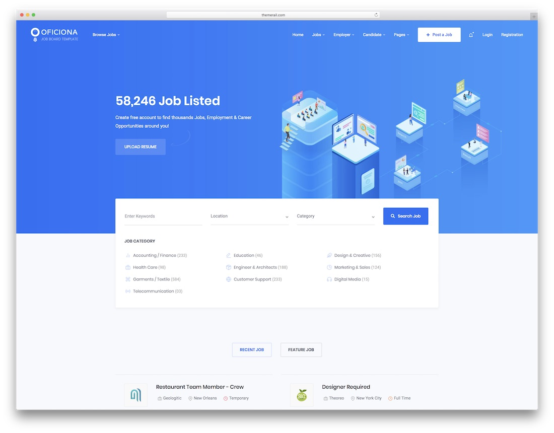 oficiona html job board website template