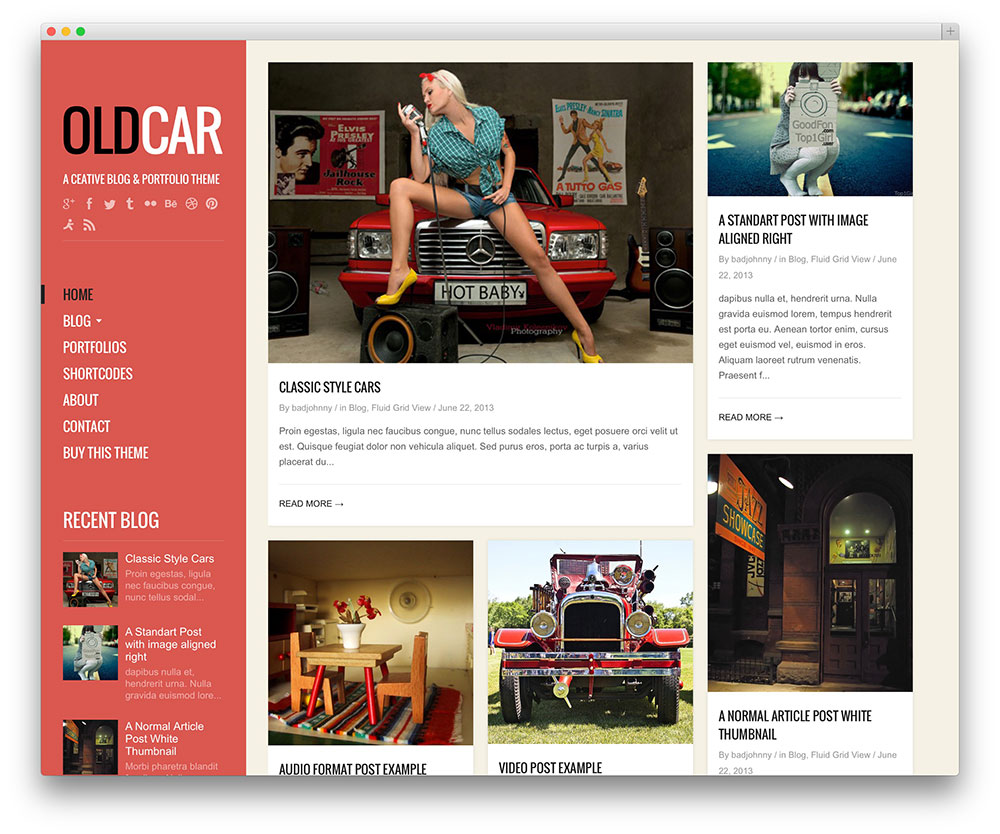oldcar masonry WordPress theme
