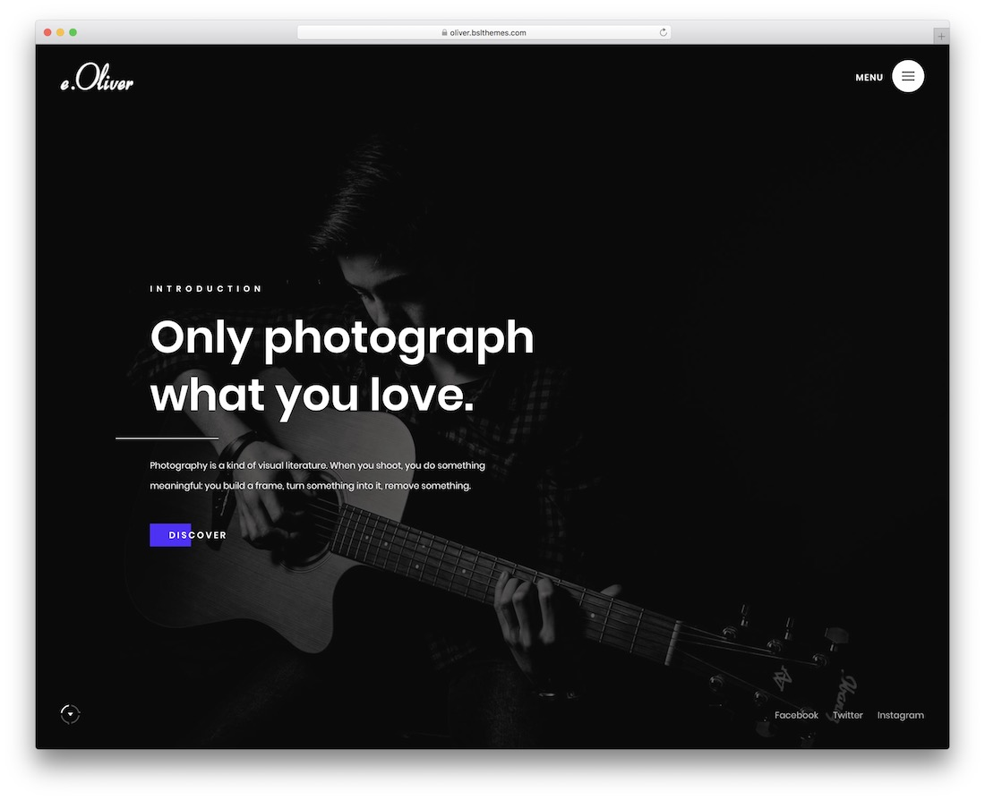 oliver wordpress theme for photographers
