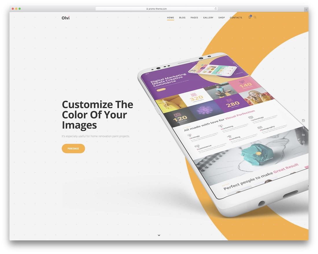 olvi app showcase wordpress theme