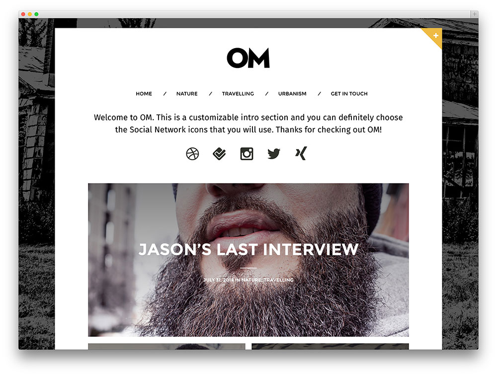 om clean vintage blog theme