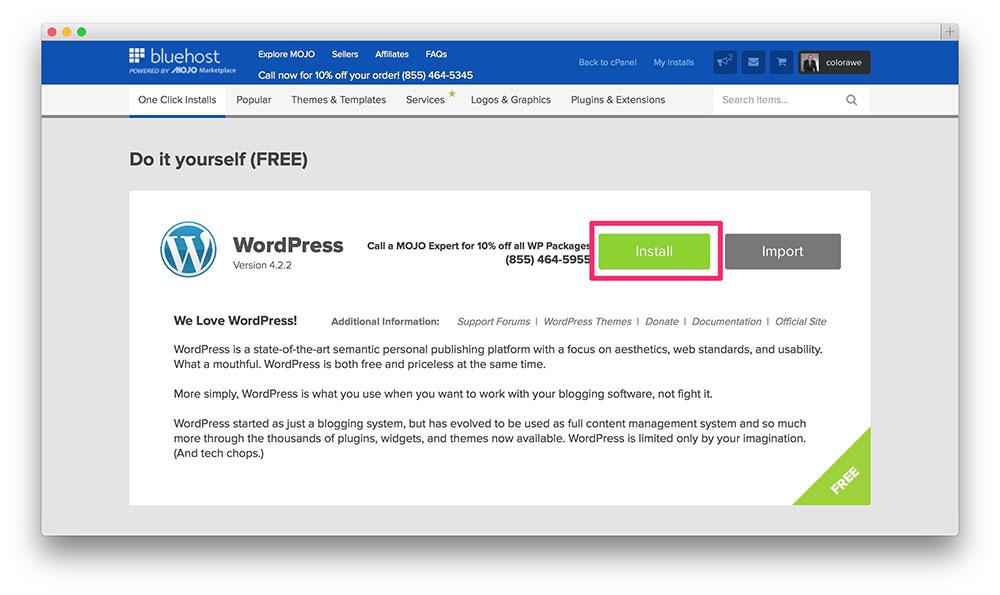 one-click-bluehost-wordpress-instal
