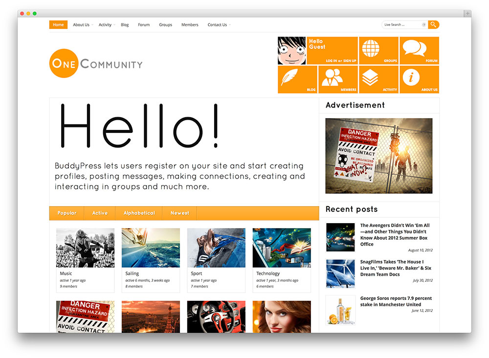 one community buddypress theme