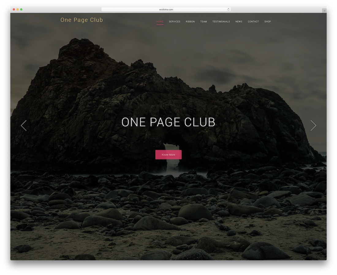 one page club website template