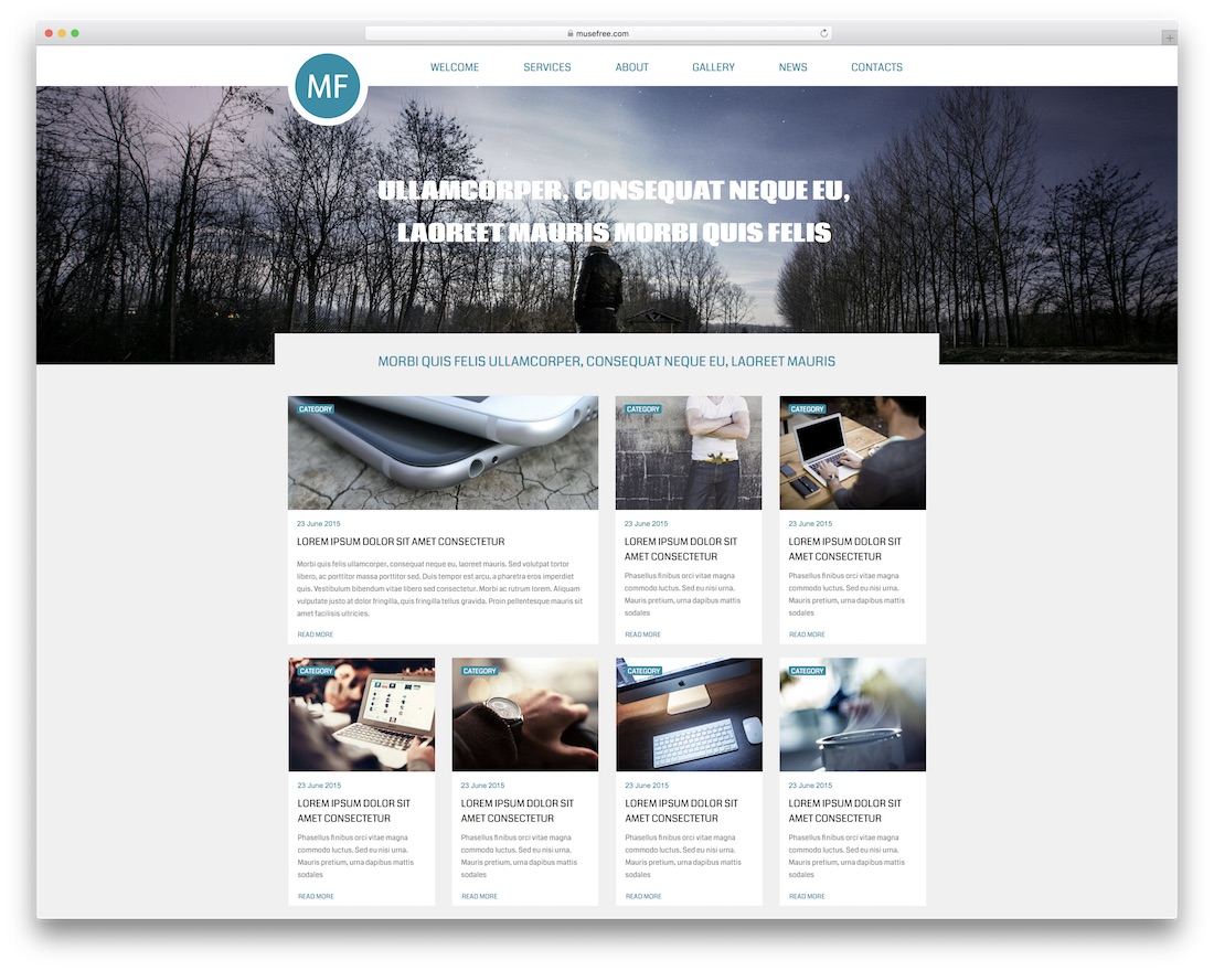one page free adobe muse template