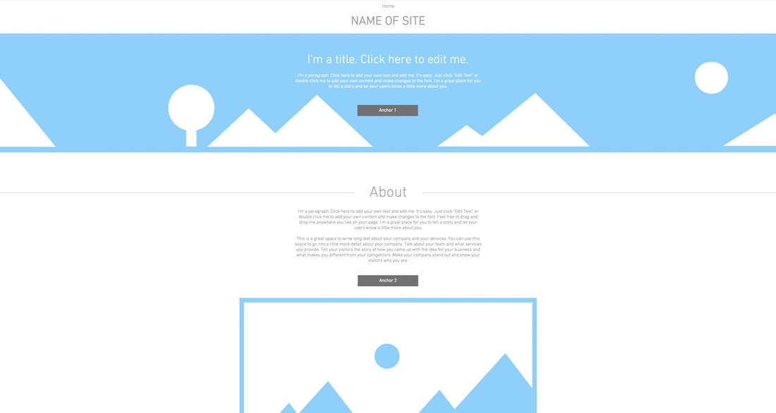one page layout blank website template