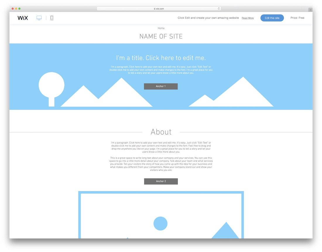 one-page layout blank website template
