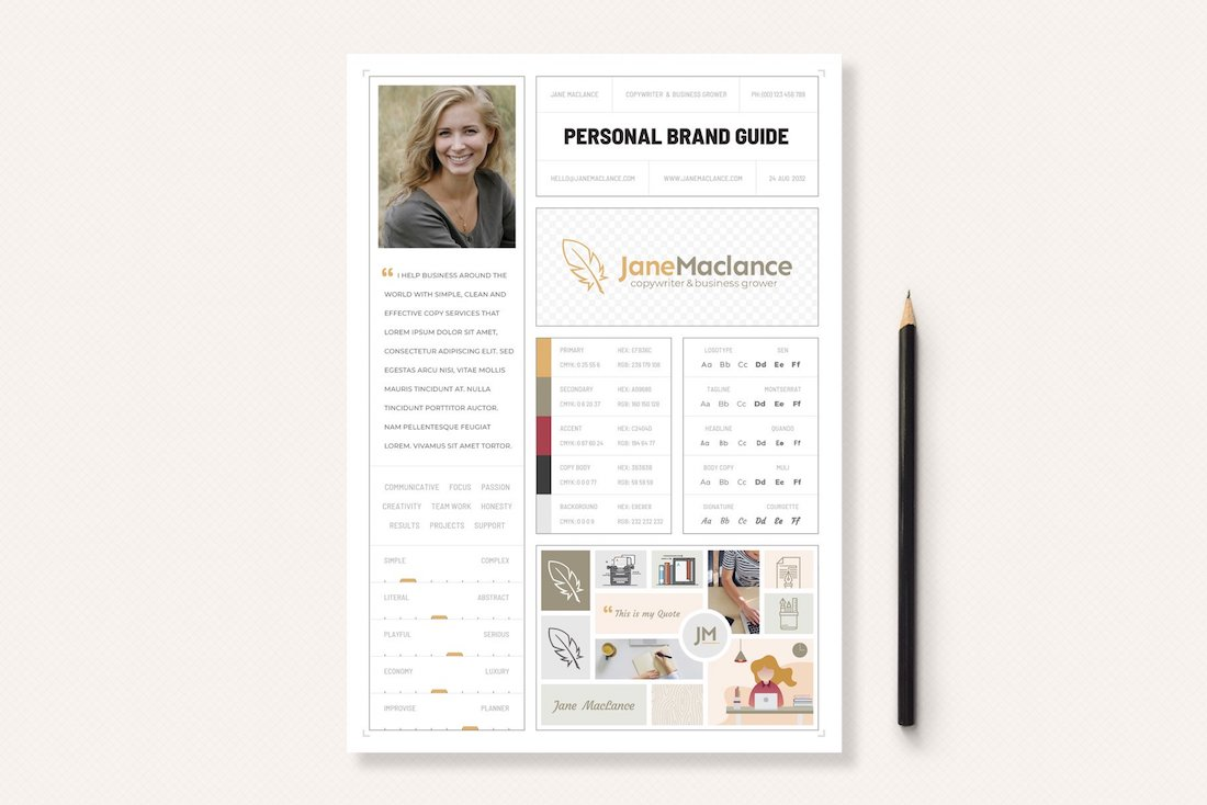one-page personal brand style guide