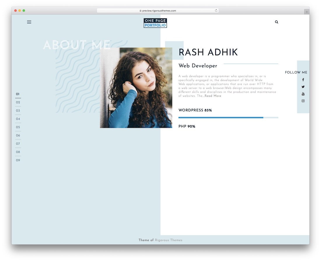 one page portfolio free wordpress theme