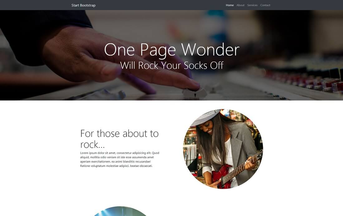 one page wonder free bootstrap 4 website template