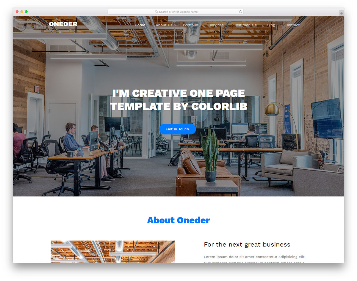 Oneder Simple HTML Template