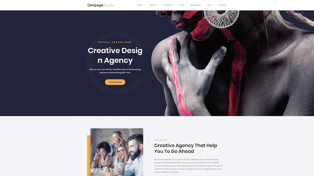 onepage studio website template