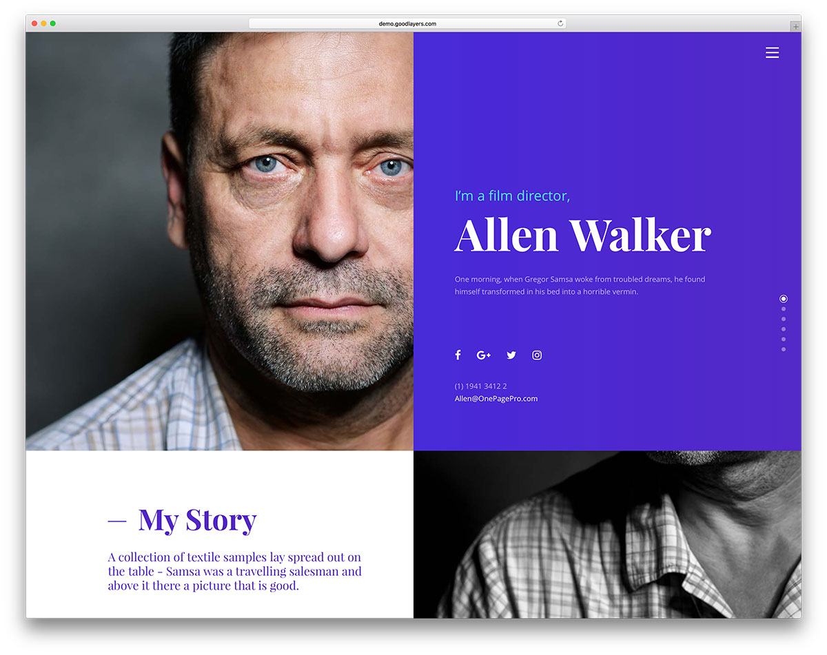 One Page Pro Is A Multipurpose WordPress Theme Focused Of Professional  Websites Settings. It Has 3 Great Demos From Which You Will Find One  Dedicated To ...  Wordpress Resume Template