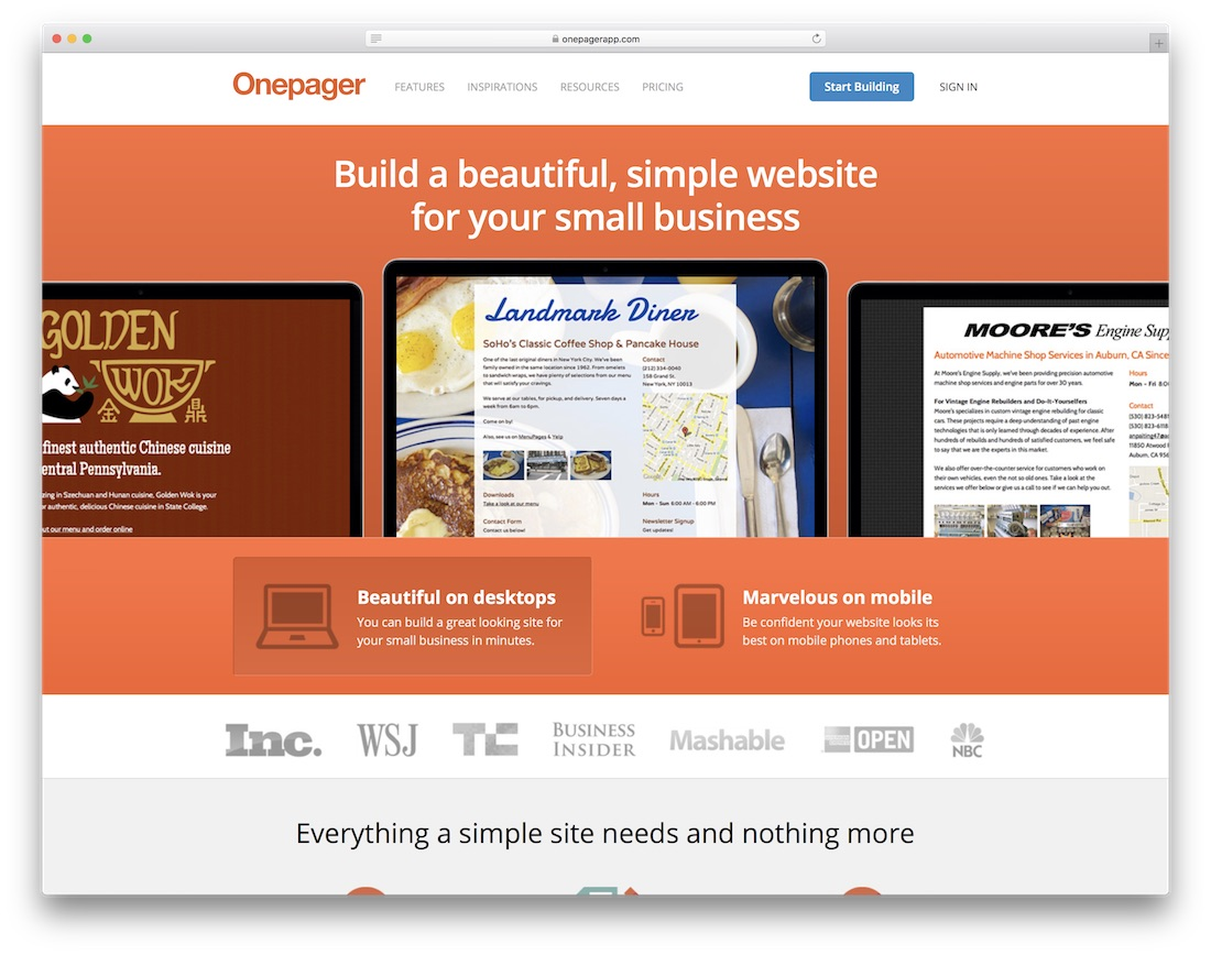 onepager website builder
