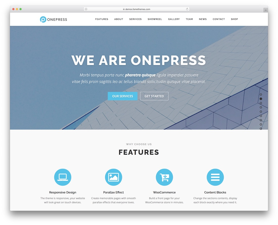 onepress free multipurpose wordpress theme
