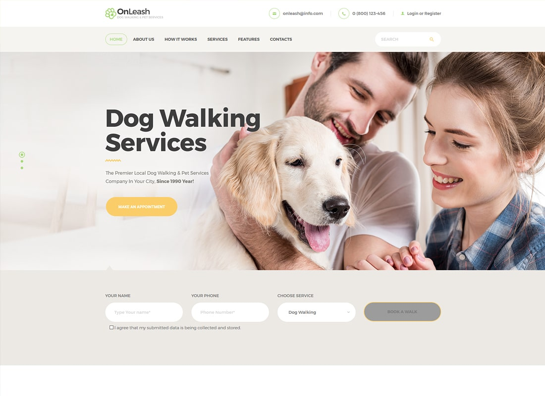 OnLeash | Dog Walking & Pet Services WordPress Theme