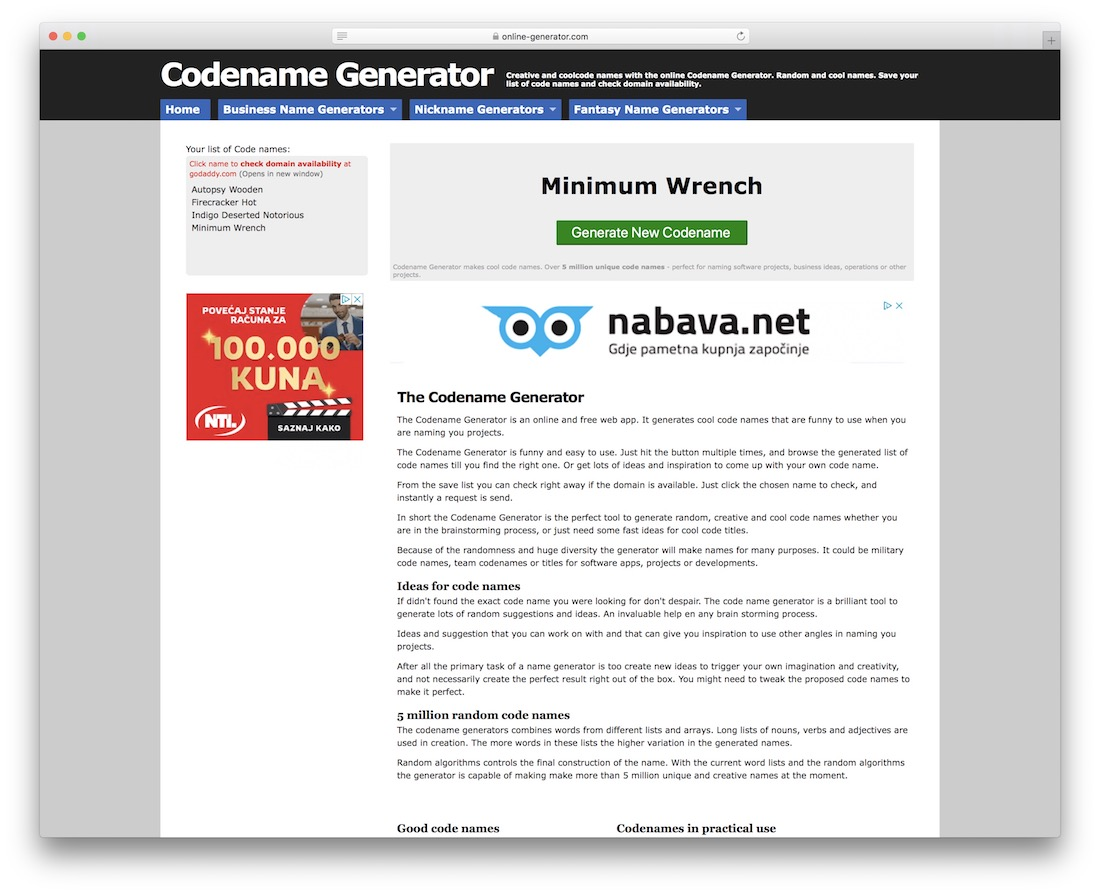 , Cool Blog & Domain Name Generators for WordPress, Rojak WP