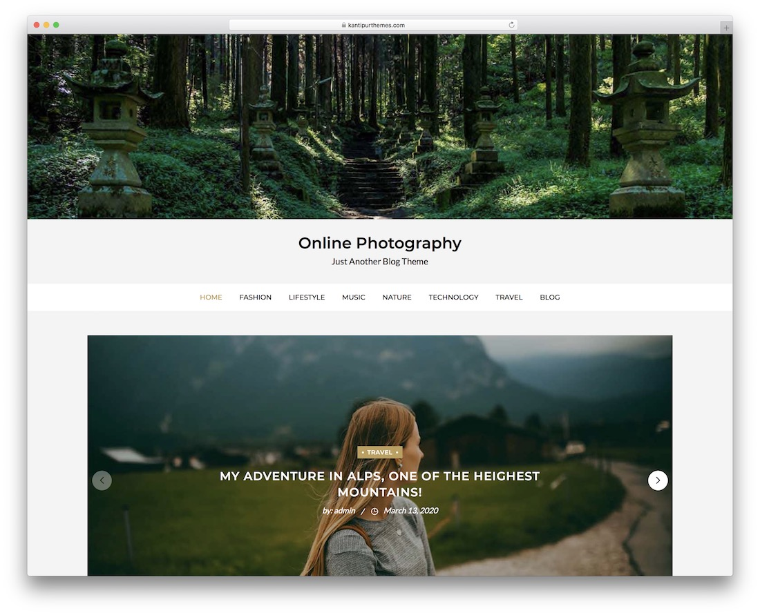 online photography free wordpress theme