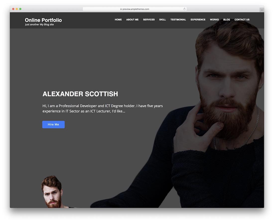 online portfolio free wordpress theme