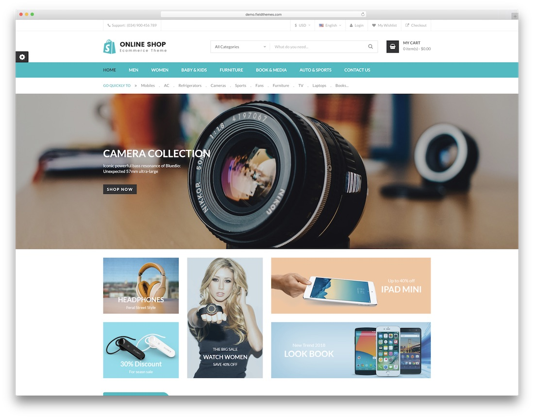 online shop prestashop theme